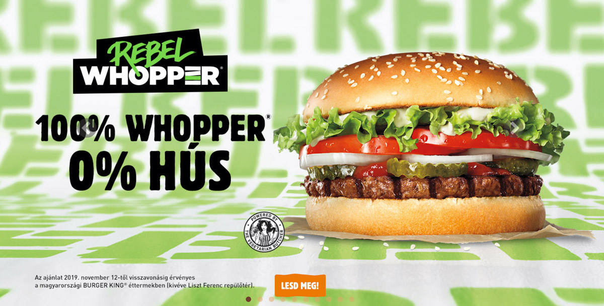 burger king whopper rebel műhús